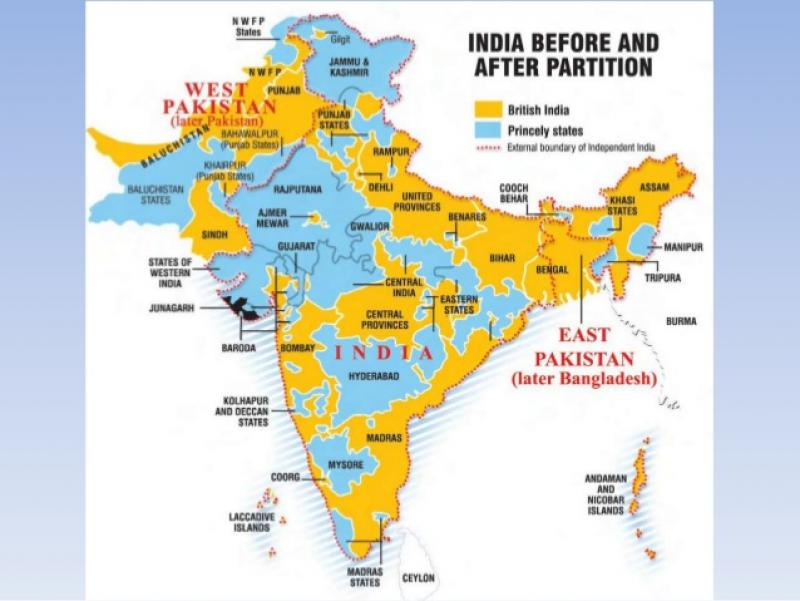 Baroda India Map.Image Of India Map Before And After Partition Sardar Vallabhbhai Patel